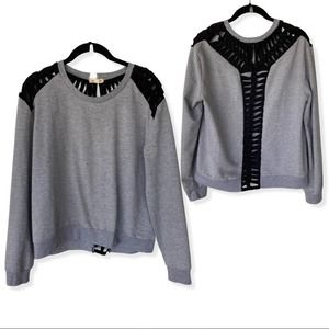 Silence + Noise Gray and Black Braided Sweater
